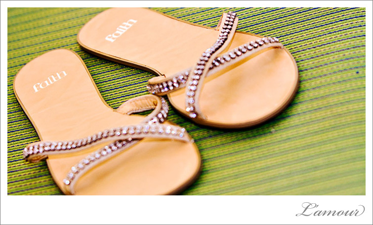 These beach wedding sandals have a message. You've gotta have faith!