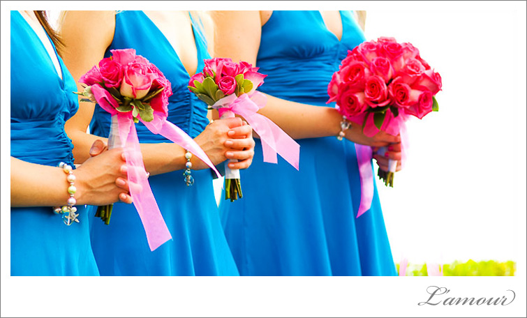 Bright contrasting colors make a bold statement on these destination wedding bridesmaids.