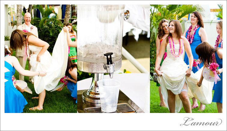 Bridesmaids help cool the bride with fans. Ice cold water is a must have for tropical destination weddings.