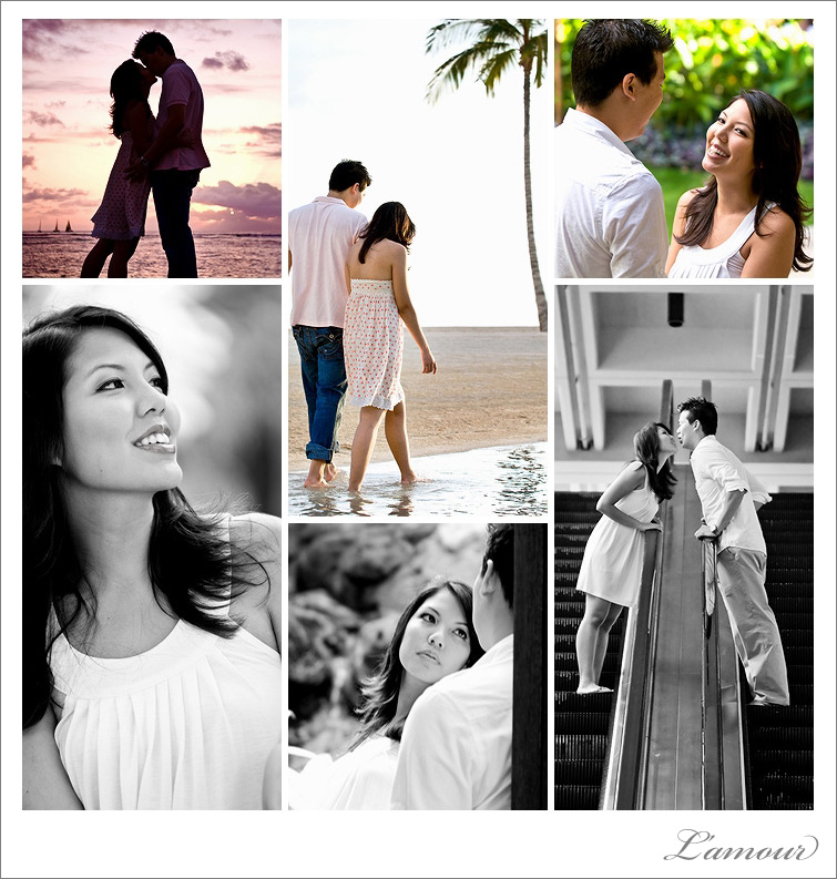 Oahu Hawaii Engagement Photos and Portraits at Hilton Hawaiian Village Resort and Spa in Honolulu. Beach and sunset portraits.