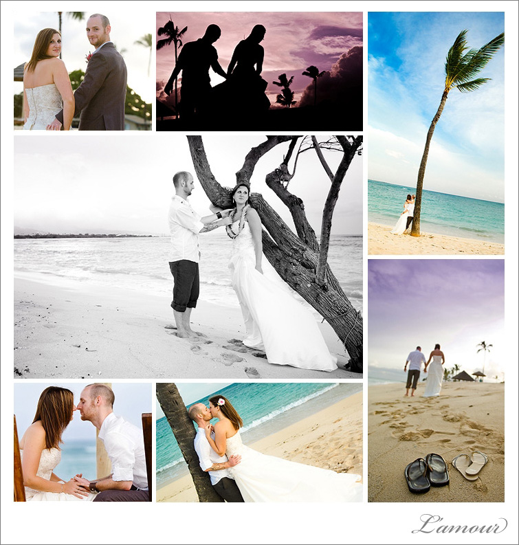 Destination Wedding Photographer. Iroquois Point Beach wedding portraits at sunset.