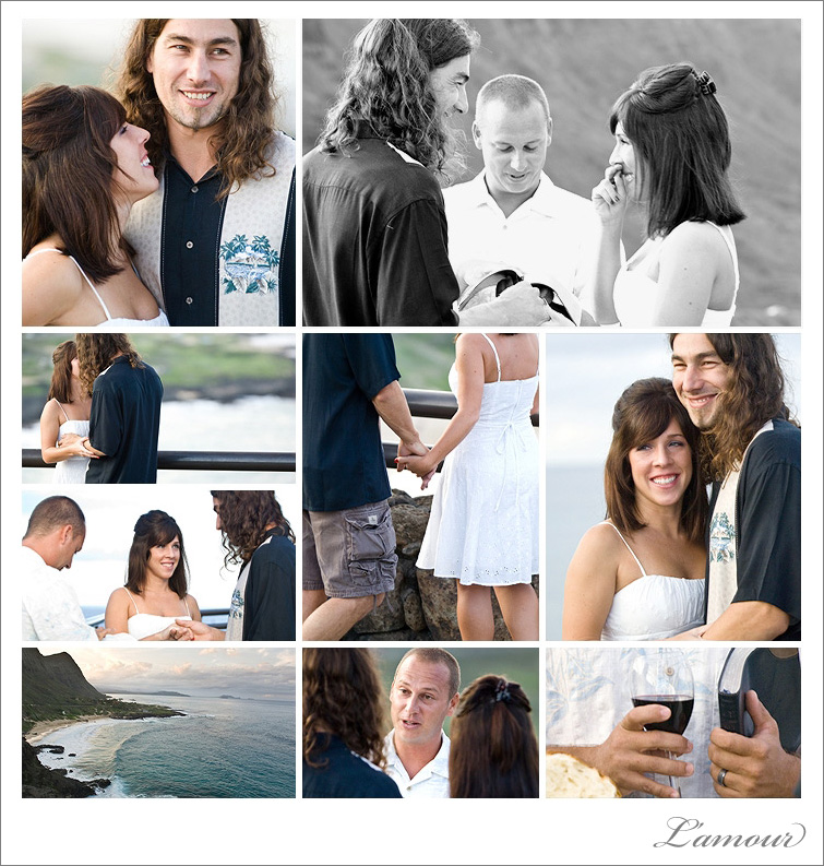 Wedding Photographs of  ceremony at sunset at Makapu'u Beach in Oahu, Hawaii.